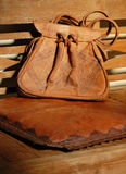 Leather Bag. Detail of pocket on beautiful old leather travel bag Stock Image