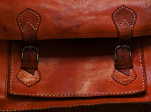 Leather Bag. Orange colored leather bag from Morocco Royalty Free Stock Photography