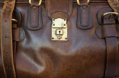 Leather bag. A close up of a leather case locked Royalty Free Stock Images
