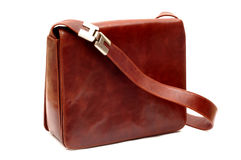 Leather bag. Woman's leather bag, isolated Royalty Free Stock Photos