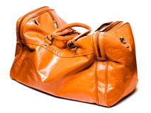 Leather bag. Isolated on white Royalty Free Stock Photography