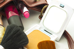 leather bag with cosmetics Stock Images