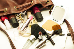 Leather bag with cosmetics Royalty Free Stock Image