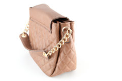 Leather bag. Female brown leather bag isolated on white background Royalty Free Stock Photography