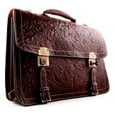 Leather Bag. Formal man`s bag is isolated white background Royalty Free Stock Photo