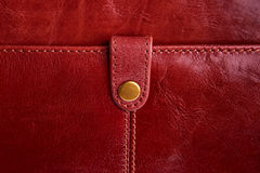 Leather bag fragment. Leather bag fragment with closing strap Royalty Free Stock Images