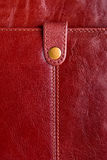 Leather bag fragment. Leather bag fragment with closing strap Stock Photo