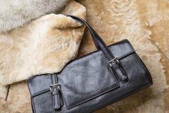 Leather Bag on Furs Royalty Free Stock Photos