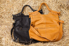 Leather bag in the hay Stock Images