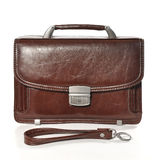 Leather bag isolated. Mens brown bag on white background Royalty Free Stock Image