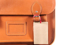 Leather bag with lable Royalty Free Stock Photography