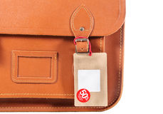 Leather bag with lable Stock Photography