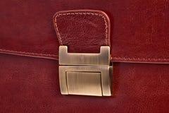 Leather bag lock. Leather bag lock closeup - horizontal orientation Stock Photography
