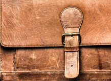 Leather bag with the lock. Stock Photography