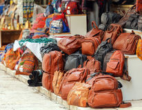 Leather Bag Market at Streets of Jerusalem Royalty Free Stock Images