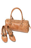 Leather bag and shoes Royalty Free Stock Images