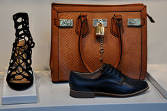 Leather bag and shoes Royalty Free Stock Photos