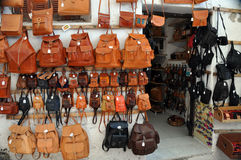 Leather bag shop Stock Images