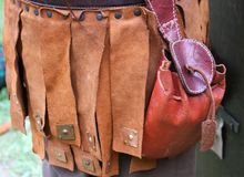 Leather bag for storing the money and coins in the middle ages Stock Photo