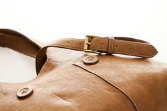 Leather bag with strap and buckle Stock Photography