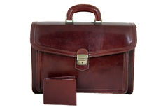 Leather bag with wallet Stock Photography