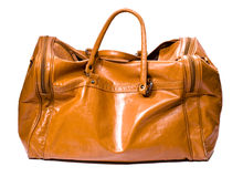 Leather bag on white Stock Photography