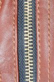 Leather bag zipper Royalty Free Stock Image
