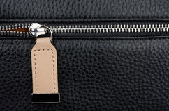 Leather bag zipper Royalty Free Stock Photos