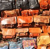 Leather bags. In Jerusalem. Background, texture, close-up Stock Photos