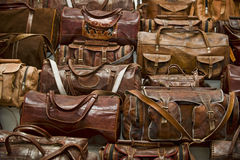 Leather bags. In a lather shop in Sri Lanka Stock Photography