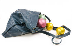 Leather bags with Christmas balls Stock Photo