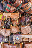 Leather bags on the counter market Royalty Free Stock Image