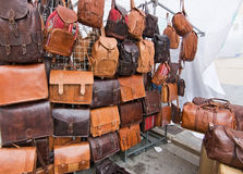 Leather bags on display Royalty Free Stock Photo