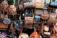 Leather bags for sale Stock Photos