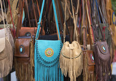 Leather bags for sale in Thailand Royalty Free Stock Images