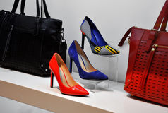 Leather bags and shoes Stock Photo