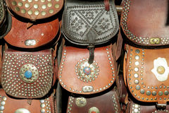 Leather bags souvenirs Stock Image