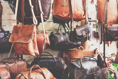 Leather bags for women in the bazaar of Essaouira,Morocco.  Stock Photos