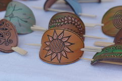 Leather barrette. Different styled handmade leather barrette Royalty Free Stock Photos