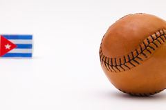 Leather baseball ball and Cuban flag Stock Photography