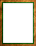 Leather beige & green border. Worn brown leather with green & gold border frame with empty white space for text Stock Photography