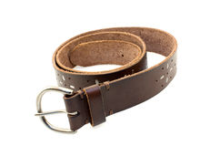 Leather belt. Woman leather belt isolated on white Stock Photo