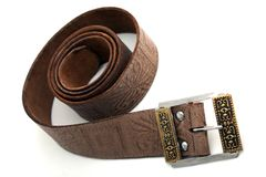 Leather belt. Woven brown leather belt isolated on white Stock Image