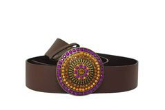 Leather belt. With color decorated buckle Royalty Free Stock Photography