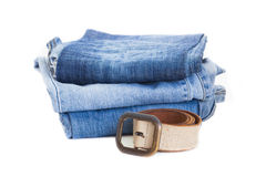 Leather belt and blue denim jean  Stock Photo