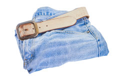 Leather belt and blue denim jean  Stock Photography