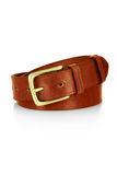 Leather belt with a buckle isolated. Leather brown belt with a buckle isolated Royalty Free Stock Images