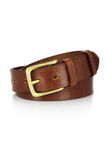 Leather belt with a buckle isolated. Leather brown belt with a buckle isolated Royalty Free Stock Photos