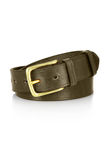 Leather belt with a buckle isolated. Leather green belt with a buckle isolated Stock Image