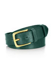 Leather belt with a buckle isolated. Leather green belt with a buckle isolated Stock Photos